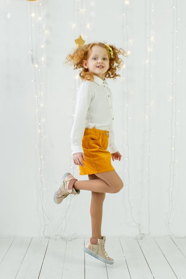 Девочка обута в детские демисезонные ботинки (внутри кожа) Woopy Orthopedic пудровые (3433) Фото 1