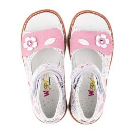 Детские ортопедические босоножки Woopy Orthopedic разноцветные, розовые для девочек натуральная кожа размер - (3443) Фото 5