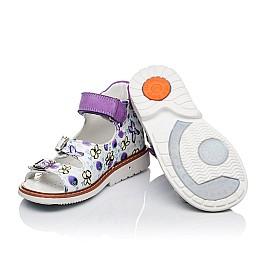 Детские ортопедические босоножки Woopy Orthopedic белые, фиолетовые для девочек натуральная кожа / натуральный нубук размер - (3451) Фото 2