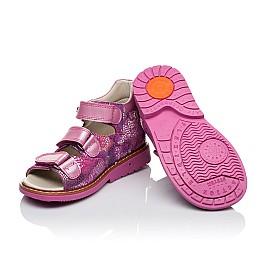 Детские ортопедические босоножки Woopy Orthopedic розовые для девочек натуральная кожа / натуральный нубук размер - (3454) Фото 2