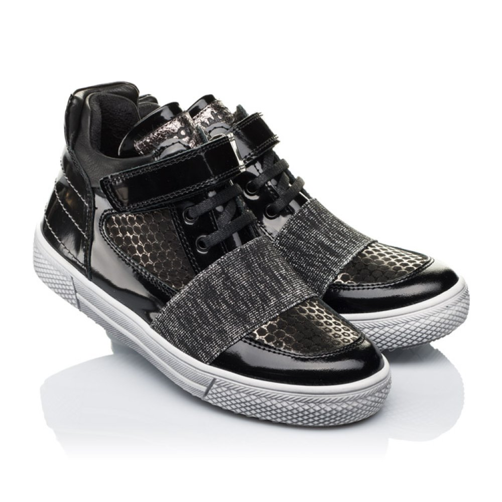 Детские демисезонные ботинки Woopy Orthopedic черные для девочек лаковая кожа, нубук размер 18-40 (3464) Фото 1