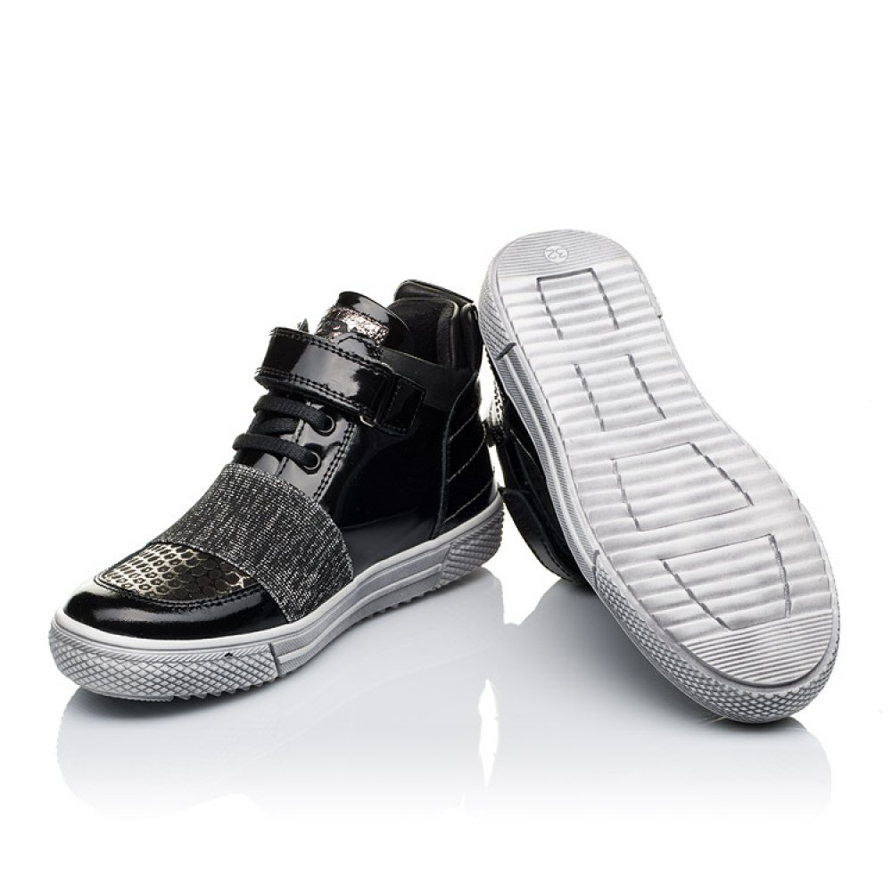 Детские демисезонные ботинки Woopy Orthopedic черные для девочек лаковая кожа, нубук размер 18-40 (3464) Фото 2