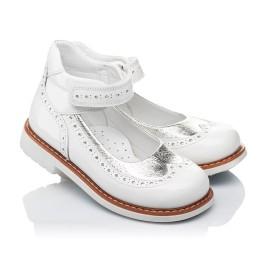 Детские туфли ортопедические Woopy Orthopedic белые, серебро для девочек натуральная лаковая кожа размер 32-32 (3470) Фото 1