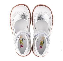 Детские туфли ортопедические Woopy Orthopedic белые, серебро для девочек натуральная лаковая кожа размер 32-32 (3470) Фото 6