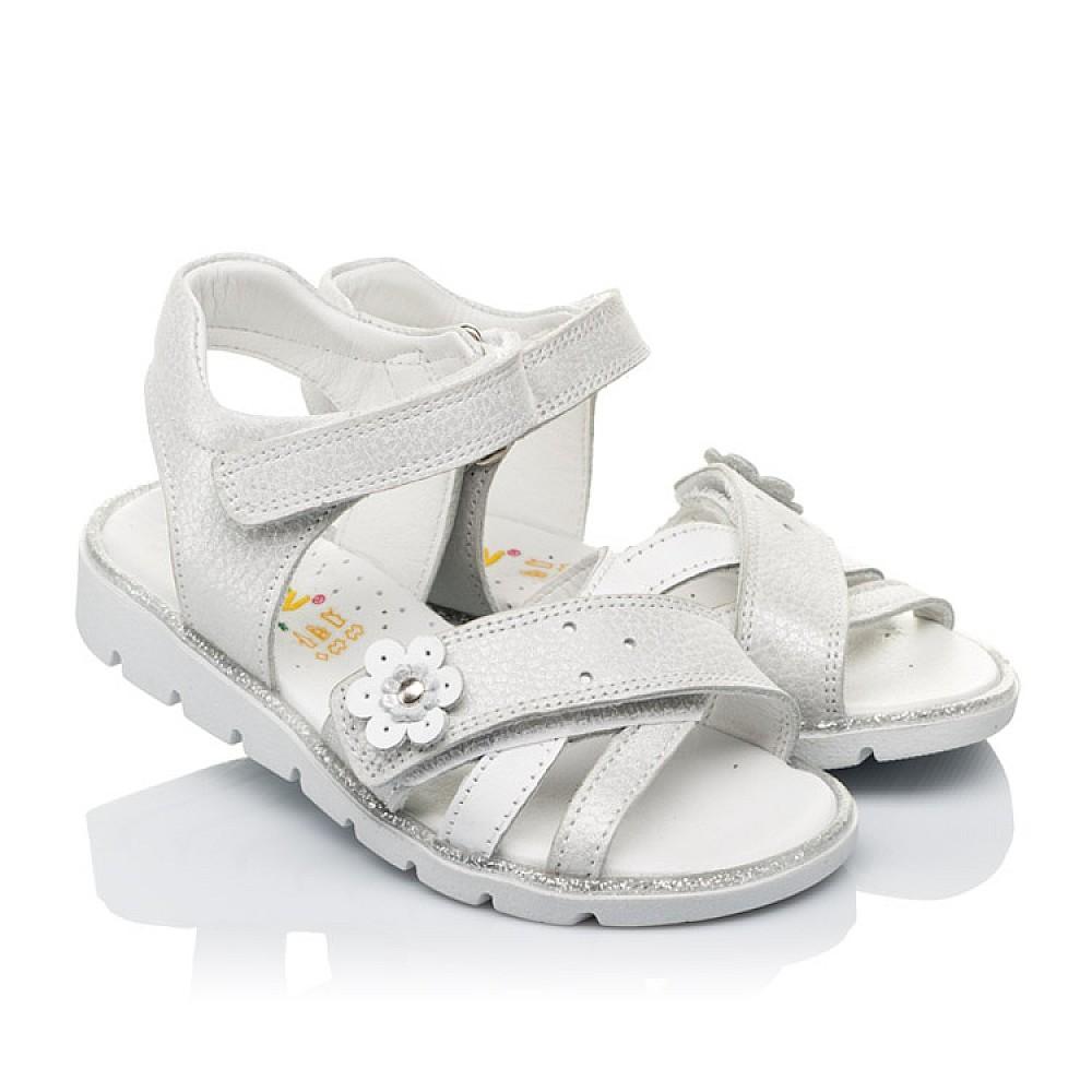 Детские босоножки Woopy Orthopedic белые, серебро для девочек натуральная кожа размер 18-40 (3473) Фото 1