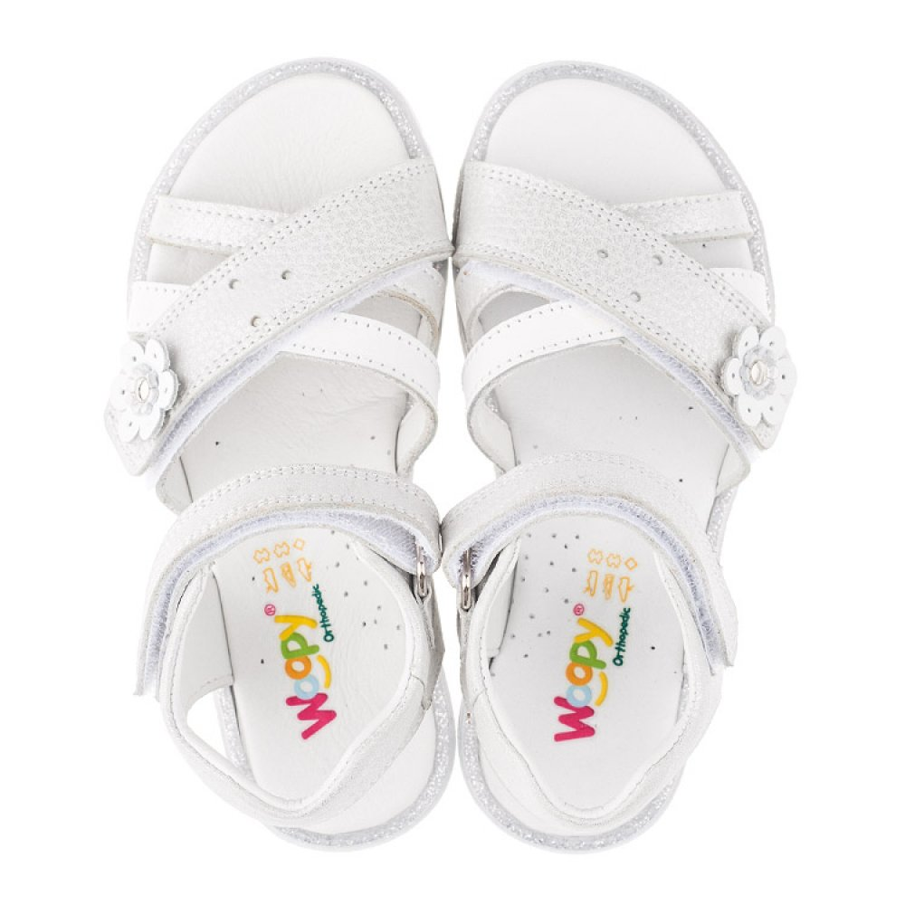 Детские босоножки Woopy Orthopedic белые, серебро для девочек натуральная кожа размер 18-40 (3473) Фото 5