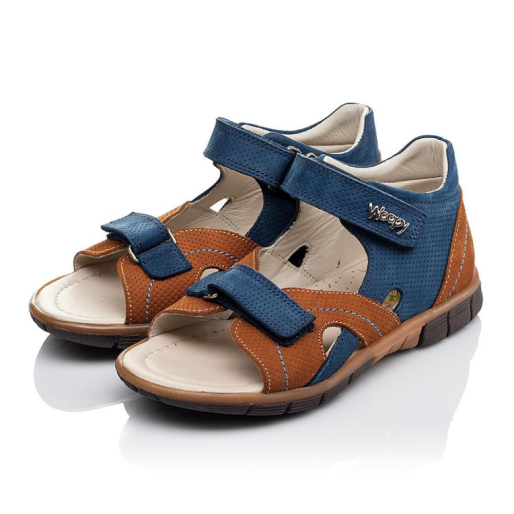 Детские босоніжки Woopy Orthopedic сині, коричневі для мальчиков натуральний нубук размер 25-35 (3475) Фото 3