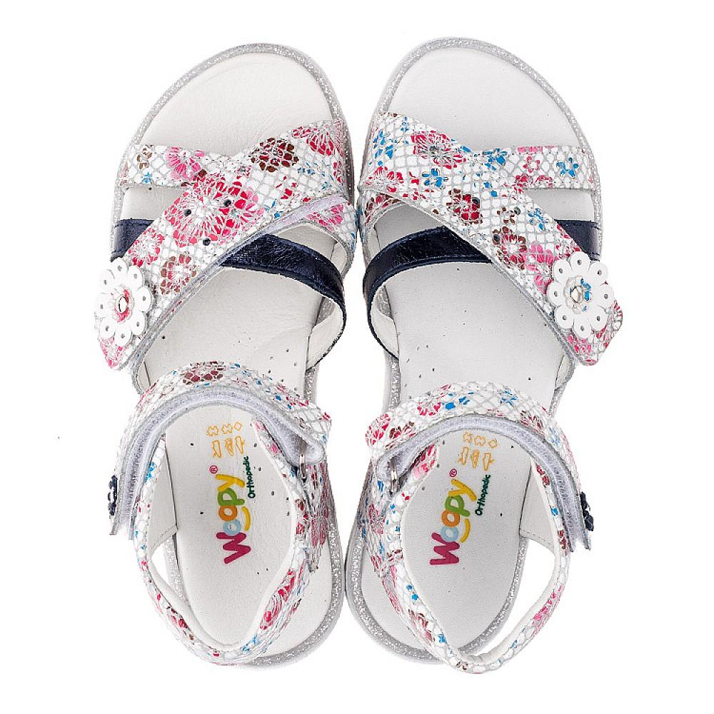 Детские босоножки Woopy Orthopedic белые,разноцветные для девочек натуральная кожа размер 26-36 (3483) Фото 5