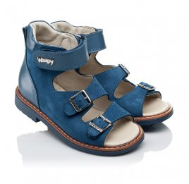 Детские ортопедичні босоніжки (з високим берцем) Woopy Orthopedic синие для мальчиков натуральный нубук размер 21-33 (3488) Фото 1