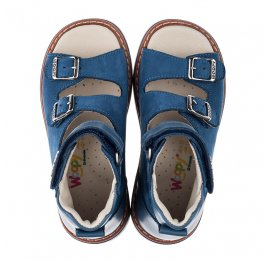 Детские ортопедичні босоніжки (з високим берцем) Woopy Orthopedic синие для мальчиков натуральный нубук размер 21-33 (3488) Фото 5