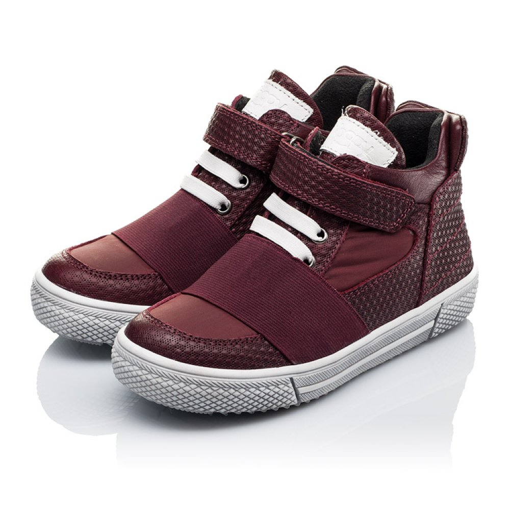 Детские демисезонные ботинки Woopy Orthopedic бордовые для девочек натуральная кожа, текстиль размер 21-33 (3490) Фото 3