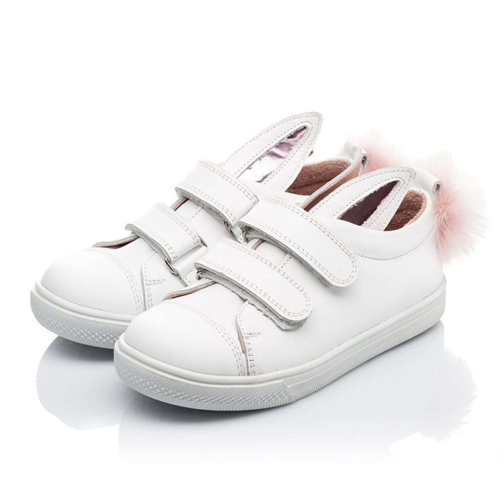 Детские кеды Woopy Orthopedic белые для девочек натуральная кожа размер 21-33 (3494) Фото 3