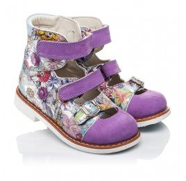 Детские ортопедические туфли (с высоким берцем) Woopy Orthopedic сиреневые, разноцветные для девочек натуральная кожа и нубук размер - (3501) Фото 1