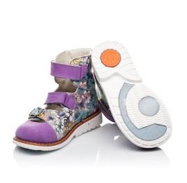 Детские ортопедические туфли (с высоким берцем) Woopy Orthopedic сиреневые, разноцветные для девочек натуральная кожа и нубук размер - (3501) Фото 2