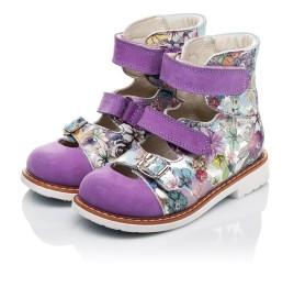 Детские ортопедические туфли (с высоким берцем) Woopy Orthopedic сиреневые, разноцветные для девочек натуральная кожа и нубук размер - (3501) Фото 3