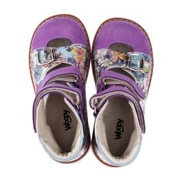 Детские ортопедические туфли (с высоким берцем) Woopy Orthopedic сиреневые, разноцветные для девочек натуральная кожа и нубук размер - (3501) Фото 5