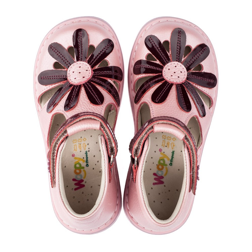 Детские закрытые ортопедические босоножки Woopy Orthopedic розовые для девочек натуральная кожа размер 20-30 (3502) Фото 5