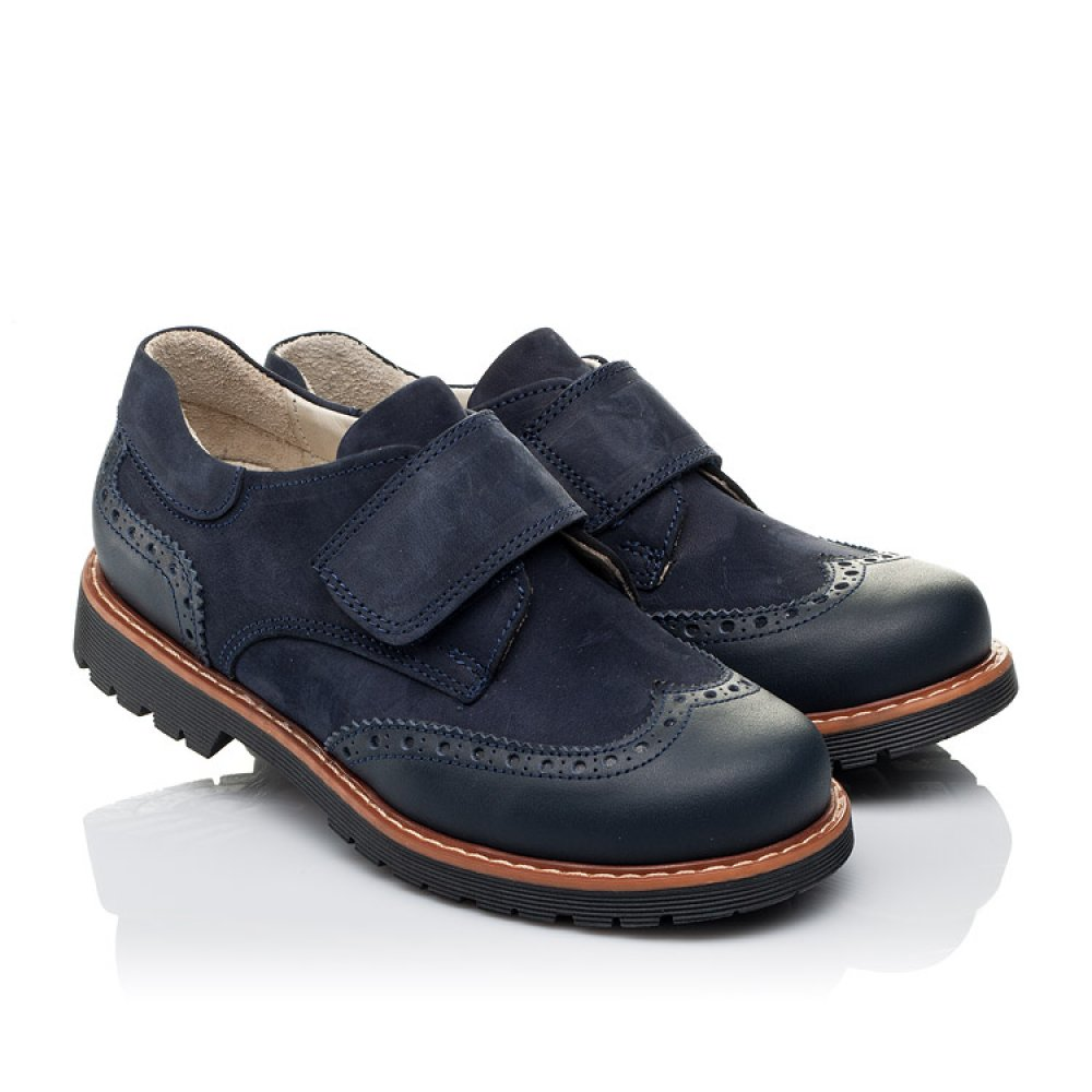Детские туфли Woopy Orthopedic синие для мальчиков натуральная кожа/нубук размер 28-39 (3513) Фото 1