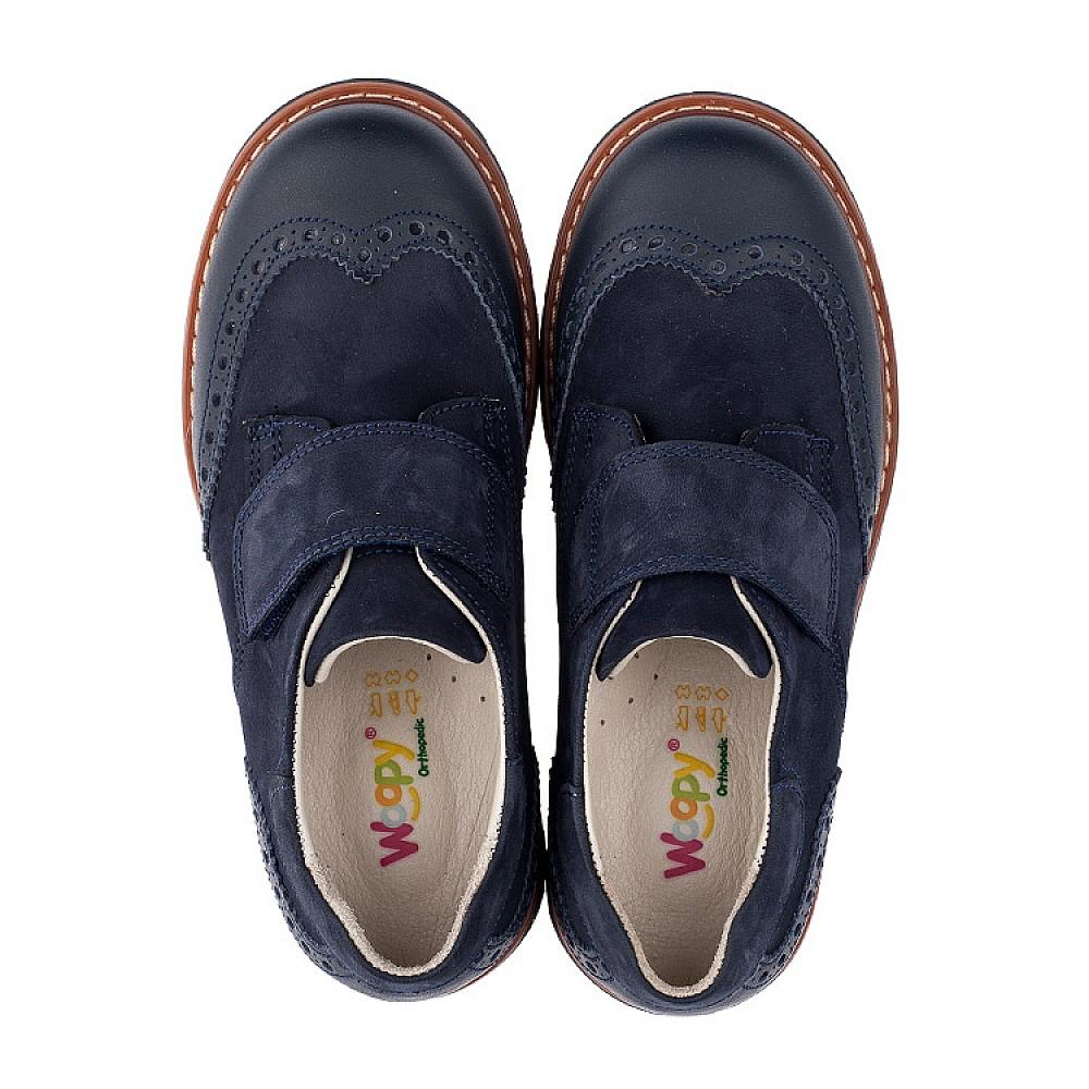Детские туфли Woopy Orthopedic синие для мальчиков натуральная кожа/нубук размер 28-39 (3513) Фото 5