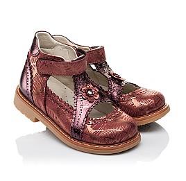 Детские туфли ортопедические Woopy Orthopedic бордовые для девочек натуральная кожа и нубук размер 26-29 (3523) Фото 1