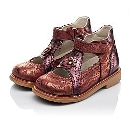 Детские туфли ортопедические Woopy Orthopedic бордовые для девочек натуральная кожа и нубук размер 26-29 (3523) Фото 3