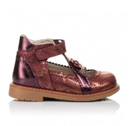 Детские туфли ортопедические Woopy Orthopedic бордовые для девочек натуральная кожа и нубук размер 26-29 (3523) Фото 4