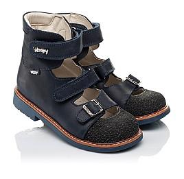 Детские ортопедические туфли (с высоким берцем) Woopy Orthopedic синие для мальчиков натуральный нубук размер - (3525) Фото 1
