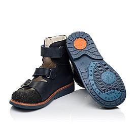 Детские ортопедические туфли (с высоким берцем) Woopy Orthopedic синие для мальчиков натуральный нубук размер - (3525) Фото 2