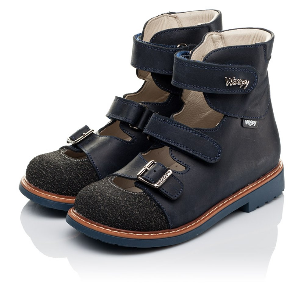 Детские ортопедические туфли (с высоким берцем) Woopy Orthopedic синие для мальчиков натуральный нубук размер 26-34 (3525) Фото 3