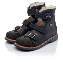Детские ортопедические туфли (с высоким берцем) Woopy Orthopedic синие для мальчиков натуральный нубук размер - (3525) Фото 3