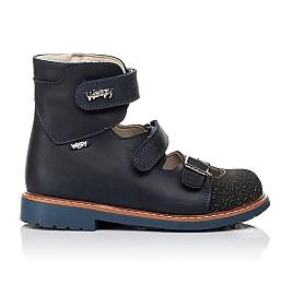 Детские ортопедические туфли (с высоким берцем) Woopy Orthopedic синие для мальчиков натуральный нубук размер - (3525) Фото 4