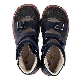 Детские ортопедические туфли (с высоким берцем) Woopy Orthopedic синие для мальчиков натуральный нубук размер - (3525) Фото 5