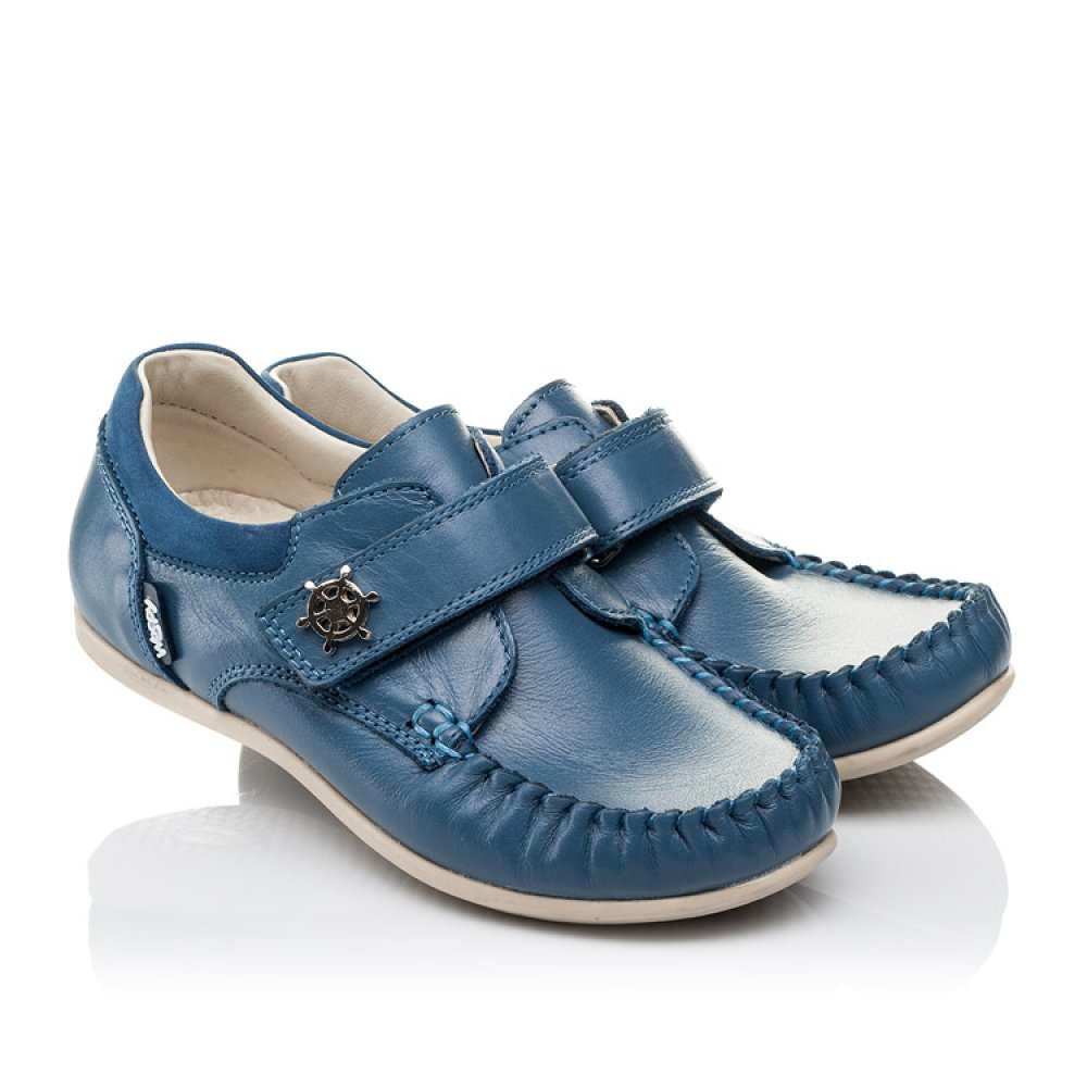 Детские мокасины Woopy Orthopedic синие для мальчиков натуральная кожа размер 24-30 (3527) Фото 1
