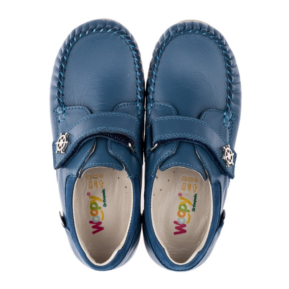 Детские мокасины Woopy Orthopedic синие для мальчиков натуральная кожа размер 24-30 (3527) Фото 5