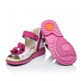 Детские ортопедические босоножки Woopy Orthopedic розовые для девочек натуральная кожа и нубук размер - (3531) Фото 2