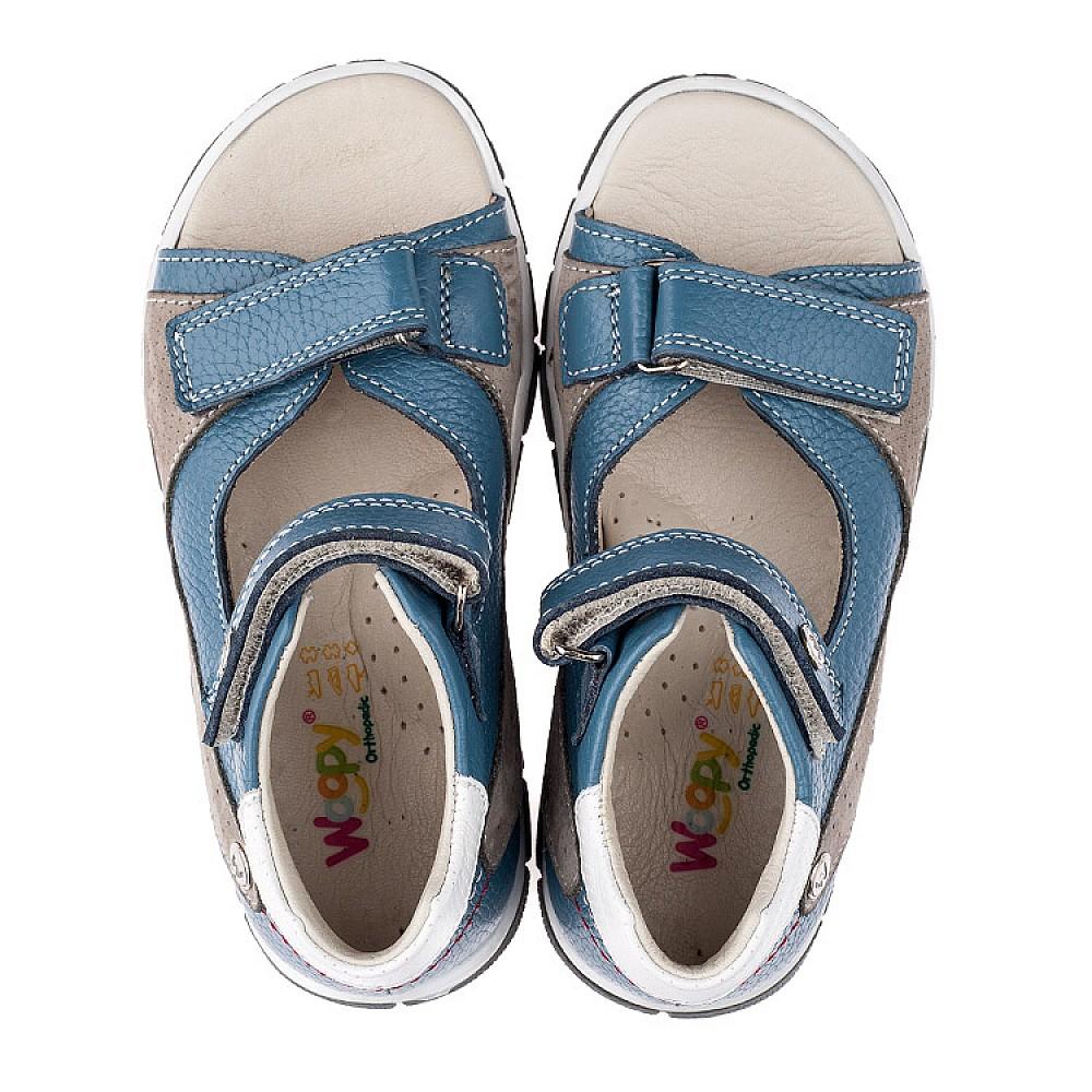 Детские босоножки Woopy Orthopedic голубые, серые для мальчиков натуральная кожа размер 21-30 (3532) Фото 5