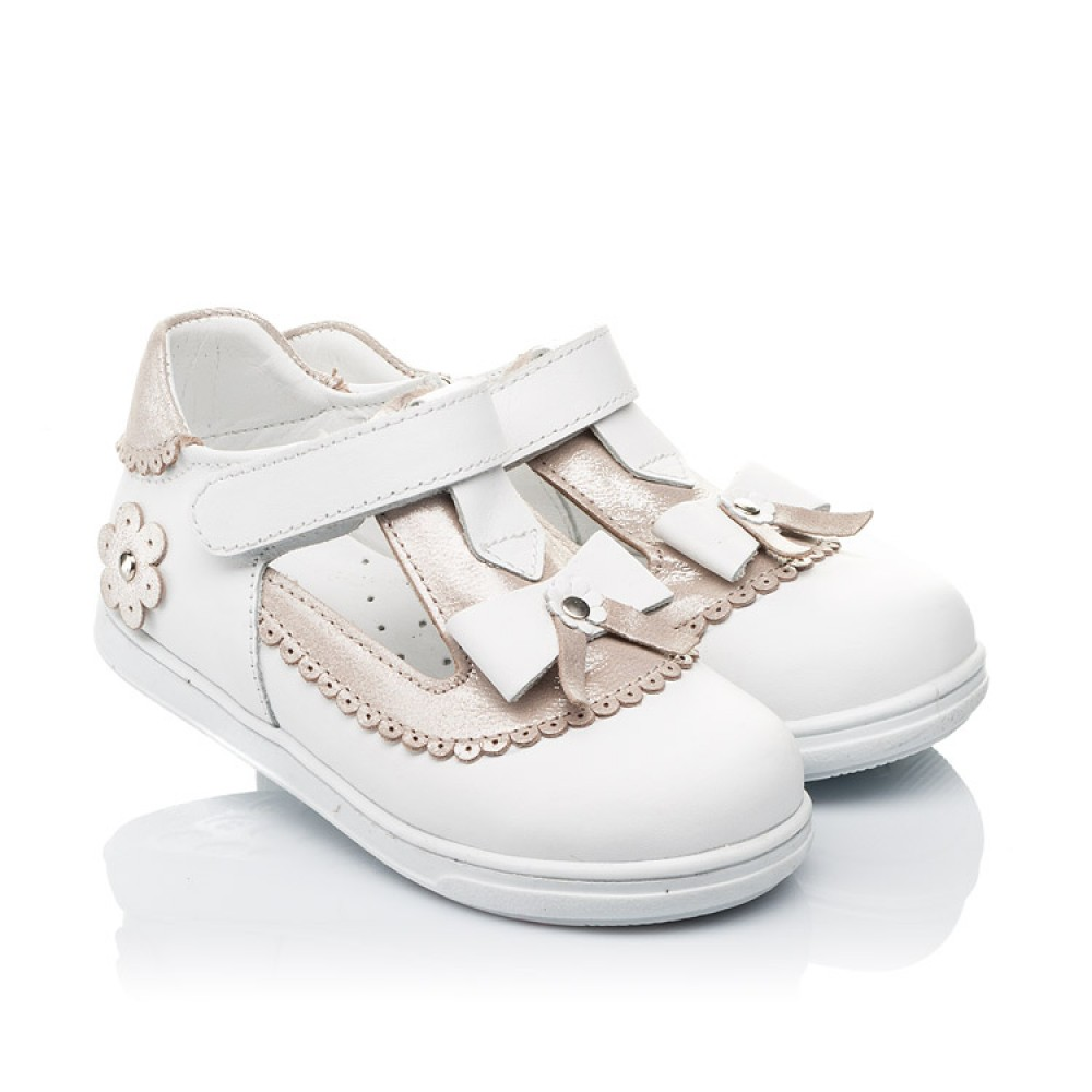 Детские туфлі Woopy Orthopedic білі, золоті для девочек натуральна шкіра размер 18-25 (3540) Фото 1