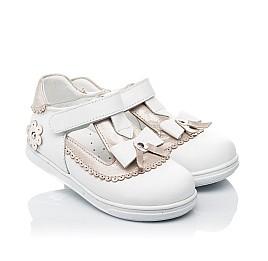 Детские туфли Woopy Orthopedic белые, золотые для девочек натуральная кожа размер 18-24 (3540) Фото 1
