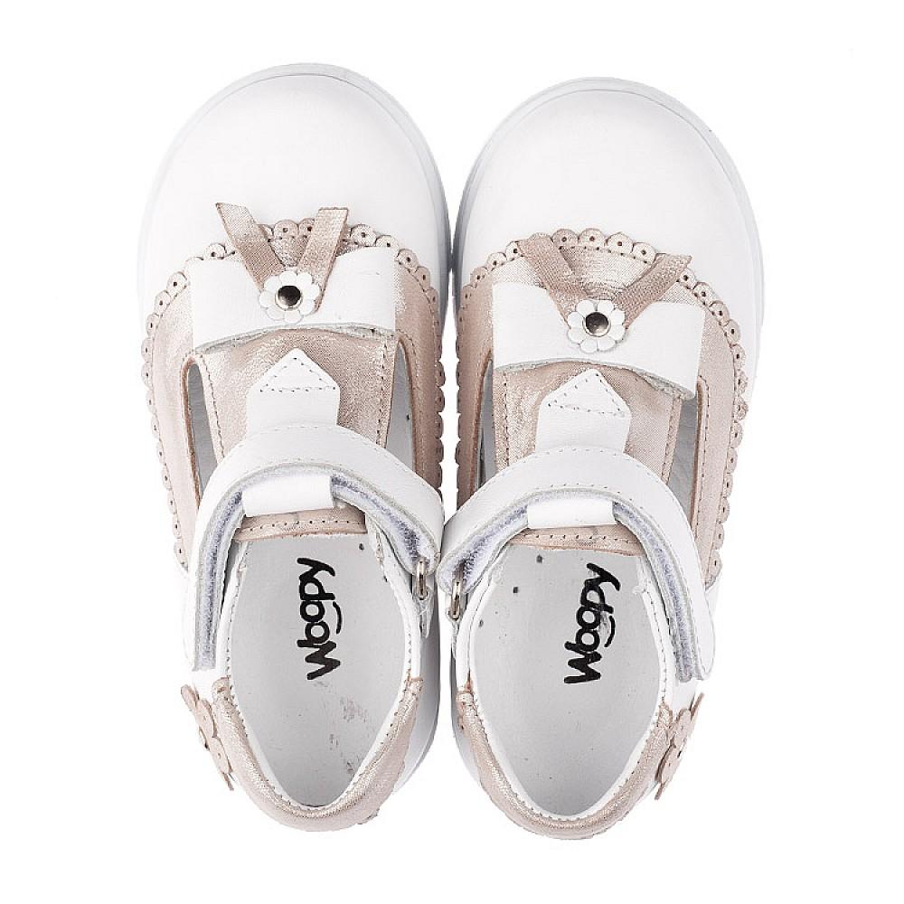 Детские туфлі Woopy Orthopedic білі, золоті для девочек натуральна шкіра размер 18-25 (3540) Фото 5