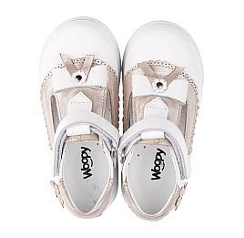 Детские туфли Woopy Orthopedic белые, золотые для девочек натуральная кожа размер 18-24 (3540) Фото 5