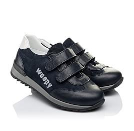 Детские кроссовки Woopy Orthopedic темно-синие для мальчиков натуральная кожа и замша размер 31-38 (3542) Фото 1