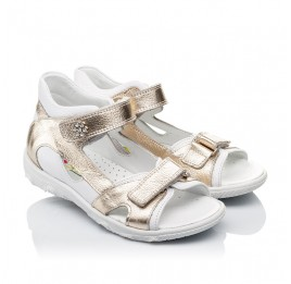 Детские босоножки Woopy Orthopedic золотые,белые для девочек натуральная кожа размер 21-21 (3548) Фото 1