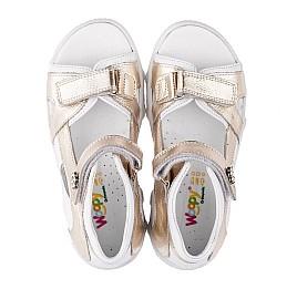 Детские босоножки Woopy Orthopedic золотые,белые для девочек натуральная кожа размер 21-26 (3548) Фото 5