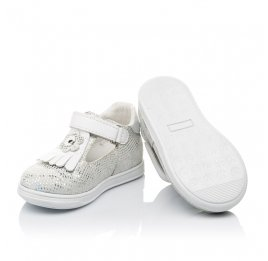 Детские туфли Woopy Orthopedic белые, серебро для девочек натуральная кожа размер 18-23 (3551) Фото 2