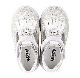 Детские туфли Woopy Orthopedic белые, серебро для девочек натуральная кожа размер 18-22 (3551) Фото 5