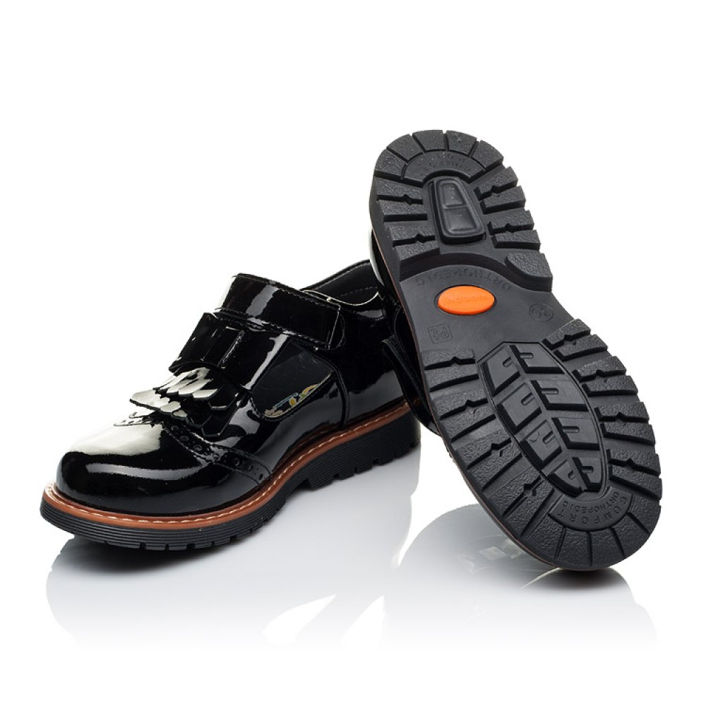 Детские туфли Woopy Orthopedic черные для девочек натуральная лаковая кожа размер 29-40 (3555) Фото 2