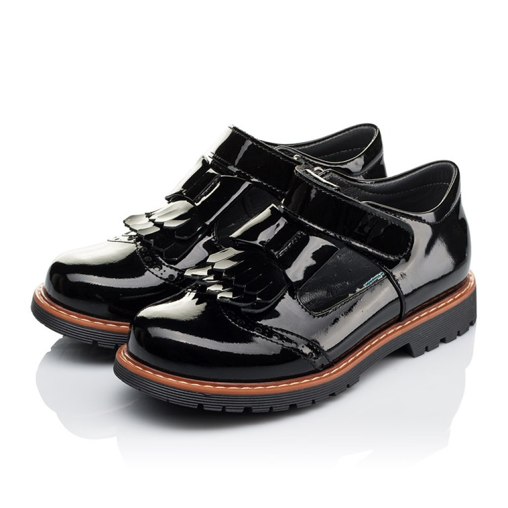 Детские туфли Woopy Orthopedic черные для девочек натуральная лаковая кожа размер 29-40 (3555) Фото 3