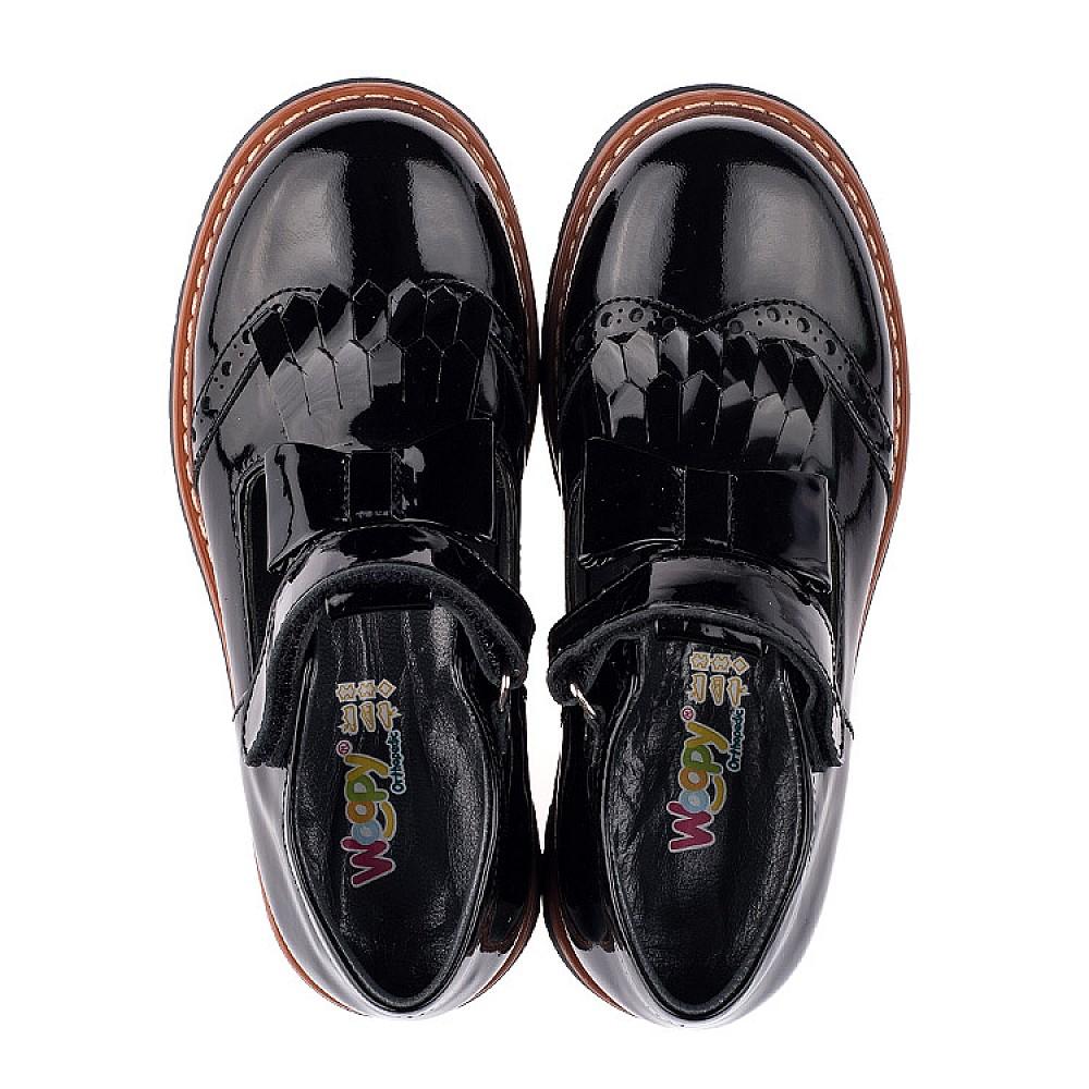Детские туфли Woopy Orthopedic черные для девочек натуральная лаковая кожа размер 29-40 (3555) Фото 5