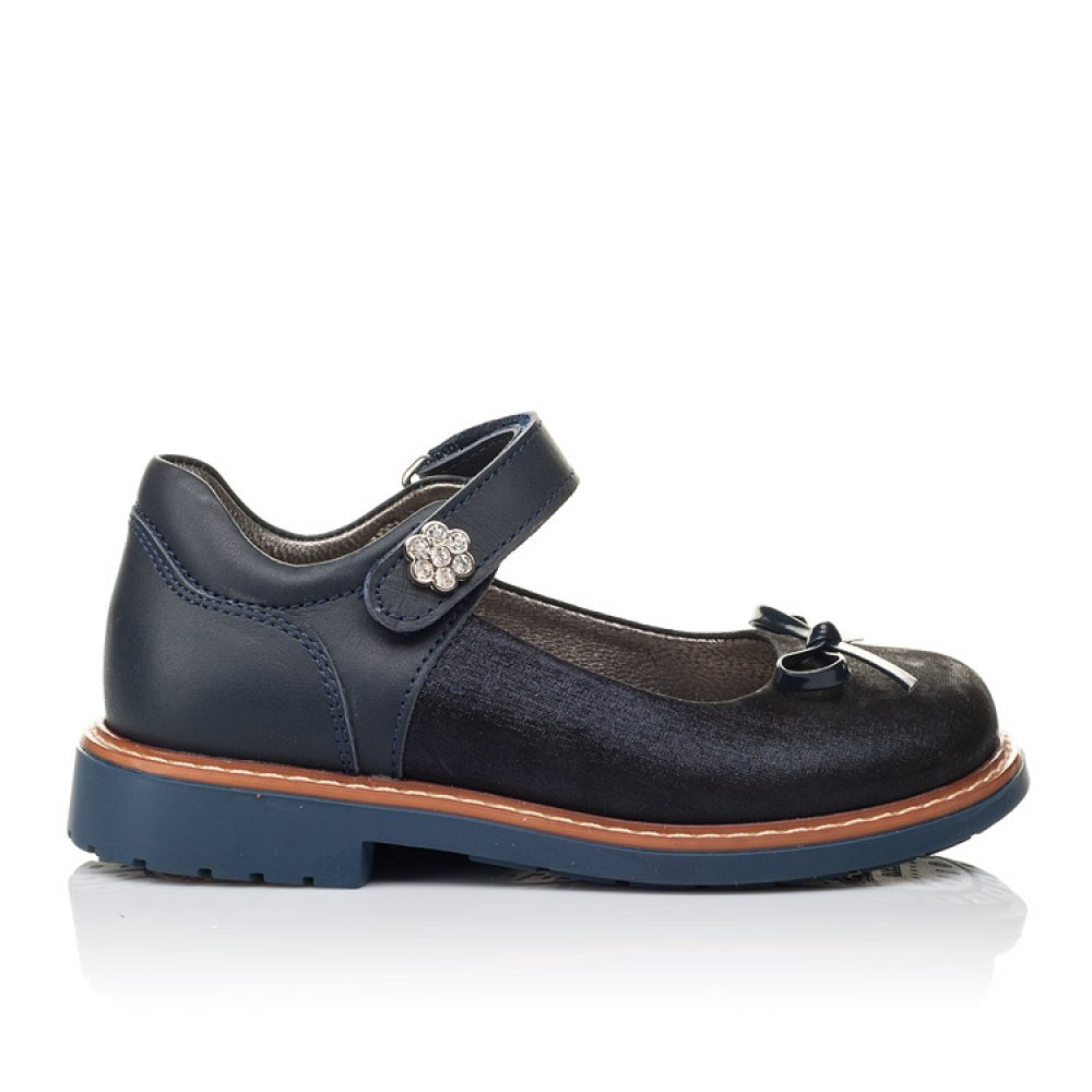 Детские туфли ортопедические Woopy Orthopedic темно-синие для девочек натуральная кожа размер 26-35 (3558) Фото 4