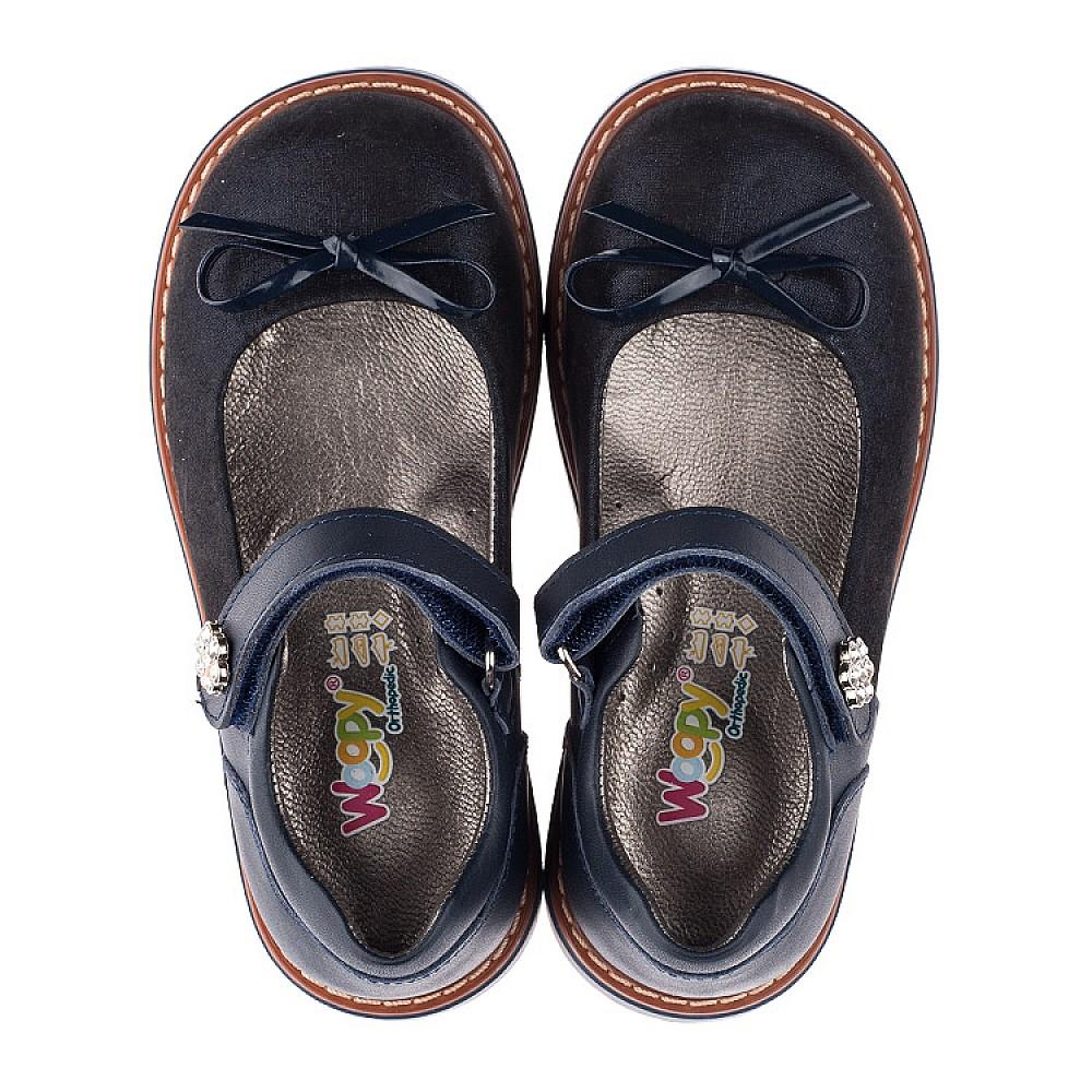 Детские туфли ортопедические Woopy Orthopedic темно-синие для девочек натуральная кожа размер 26-35 (3558) Фото 5